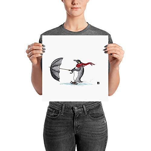 (KillerBeeMoto: Pen & Ink Water Color Drawing of Penguin Skating With an Umbrella)