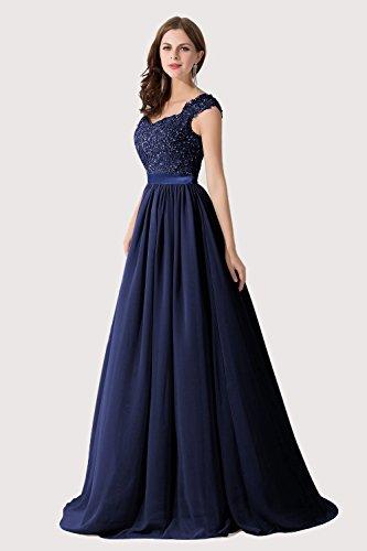 8 Navyblau Brautjungfernkleid Abendkleid Spitze 46 A 32 Linie Maxilang Damen in Farben Chiffon Elegant 85nwEqYxOp