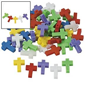 Cross shaped beads 25mm vacation bible for Bible school craft supplies
