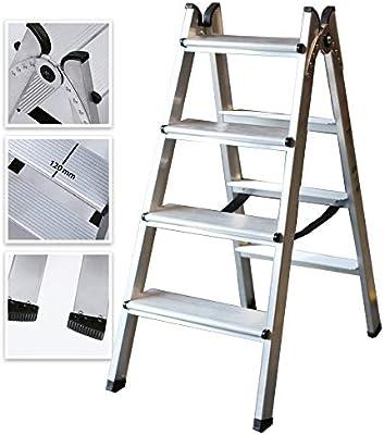 Escalera Doble Acceso de Aluminio Peldaño Ancho Soldado (4 Peldaños): Amazon.es: Bricolaje y herramientas