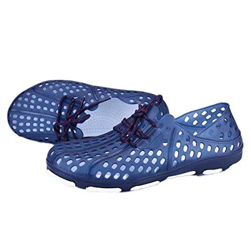 BININBOX Mens Flat Sandals Shoelace Breathable Shoes Closed-Toe Soft Hole Blue