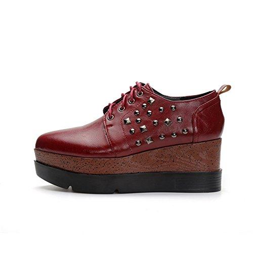 Balamasa Signore Rivetto Borchiato Piattaforma Americana Muffin Buttom Imitato In Pelle Pumps-scarpe Claret
