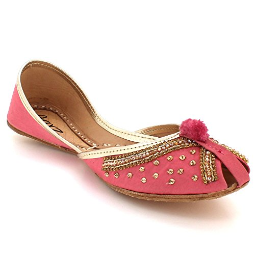 AARZ LONDON Women Ladies Traditional Peeptoe Ethnic Bridal Handmade Leather Flat Khussa Indian Pumps Slip On Shoes Size Pink 1aVkbTho3