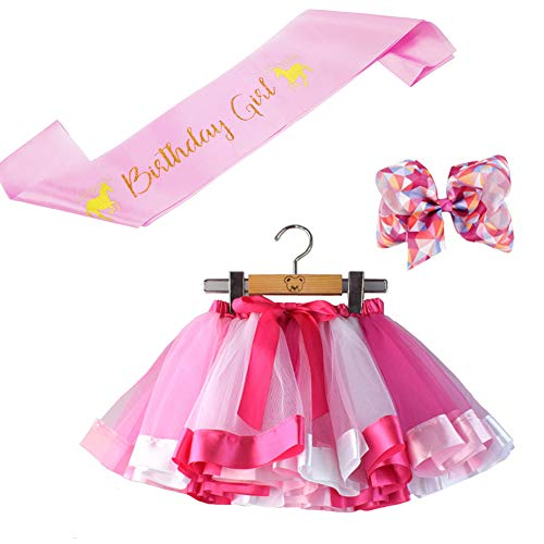 b10a3877c BGFKS Little Girls Tutu Outfit,Layered Ballet Tulle Rainbow Tutu Skirt with  Hairbow and Birthday