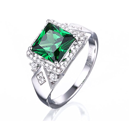 Pegaffi 925 Sterling Silver Green Emerald Zircon Ring Lady Cocktail Rings (8, Emerald)