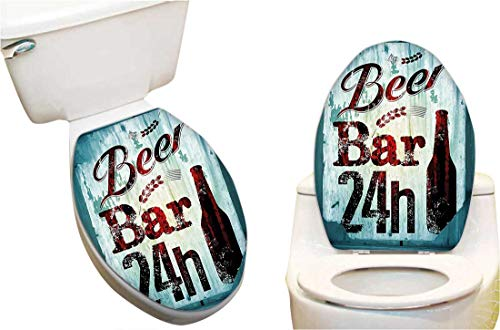Waterproof Toilet Seat Sticker Beer Bar 24h Figure Old Pub Sign Emblem Restaurant Graphic Design Maroon Dark Toilet Stickers Restroom Art Stickers 13