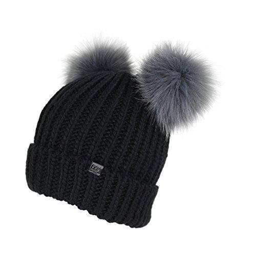 Trendy Cuff Winter Chunky Knit Beanie Hat with Double Faux Fur Pom Pom Bear Ears with Keychain (Black)