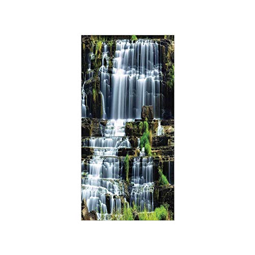 Waterfall Dolphin (3D Decorative Film Privacy Window Film No Glue,Rainforest Decorations,Waterfall in The Middle of Tropical Jungle Natural Scenery Countryside Style,Green White,for Home&Office)