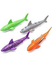 4 Pack Diving Toys Sticks Swimming Underwater Throwing Shark Set for Pool Children