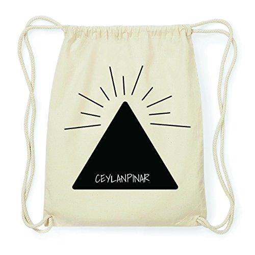 JOllify CEYLANPINAR Hipster Turnbeutel Tasche Rucksack aus Baumwolle - Farbe: natur Design: Pyramide
