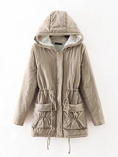 Moncler Kids (Winter Women Jackets Cotton Padded Medium Long Slim Hooded Parkas Casual Wadded Quilt Snow Outwear Warm OverCoat khaki XL)