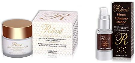 REVE Pack Colágeno - Crema regeneradora Jalea Real + Sérum colágeno Marino - Hombre y Mujer, Día y Noche - Cosmética natural sin parabenes para todo tipo de pieles - (Crema 55 ml + Sérum 20 ml)