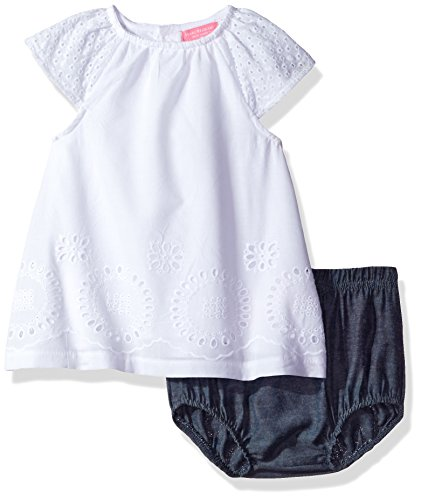 Piece 12 Eyelets (Isaac Mizrahi Baby Girls' 2 Piece Rear Snap Sundress with Diaper Cover, White Lace, 12 Months)