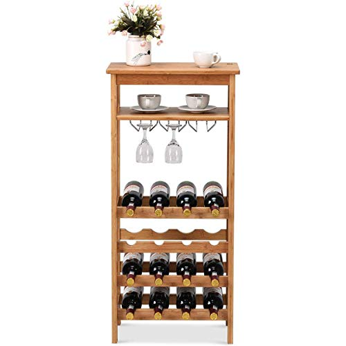COSTWAY 16-Bottle Wine Rack, Free Standing Wine Storage Shelves, Wine Display Bamboo Rack with Glass Holder, Wobble-Free Bottle Holder for Kitchen Bar Dining Room Living Room