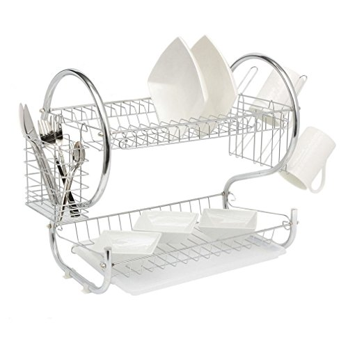 Kitchen organization holder 2 Tier Stainless Steel Dish Drainer Drying Rack US H from Home & Garden