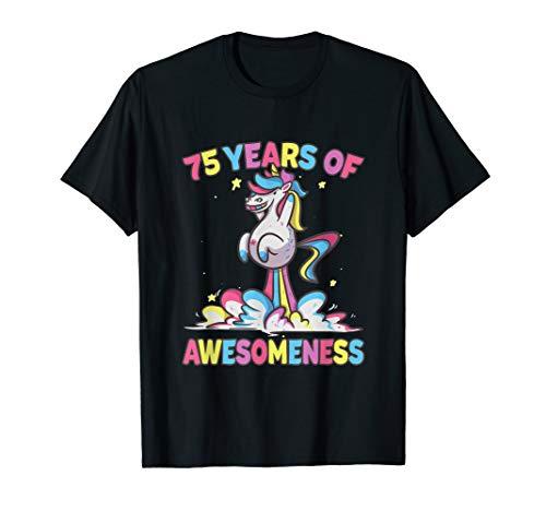 75th Birthday Shirt Funny Unicorn Gift for Gramms Mom Age 75