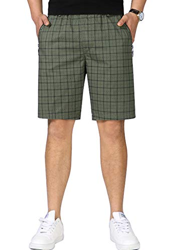 chouyatou Men's Summer Elastic Waist Straight Cotton Dashed Plaid Bermuda Shorts (Large, Army Green)