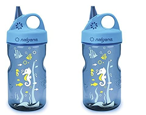 Nalgene Grip-N-Gulp Water Bottle - Blue Seahorse - 12-Ounce - 2 Count - Nalgene Grip N-gulp