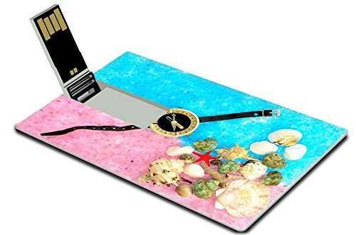 Luxlady 32GB USB Flash Drive 2.0 Memory Stick Credit Card Size sea shells and compass on blue and pink sea salt IMAGE 38973413