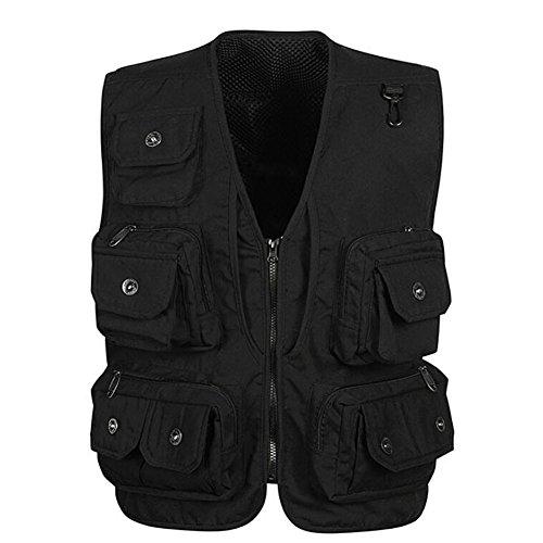 Yesiyan Men's Photographer Hunting Fly Pockets Fishing Vest Black - Bionic Black Vest