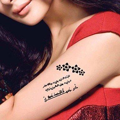 HJLHYL 5 Pcs Black Arabic Heart Broken Waterproof Temporary Tattoo Sticker