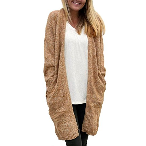 2017Hot!Elevin(TM)Women Autumn Loose Pocket Knitted Sweater Long Cardigan Coat Jacket Outwear (Khaki)