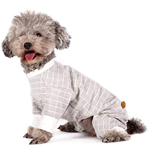 kyeese Dog Pajamas Cotton Stretchable Dog Jumpsuit 4 Legs Check Pattern Pet PJS Puppy Cat Pajama Onesie for Fall Winter