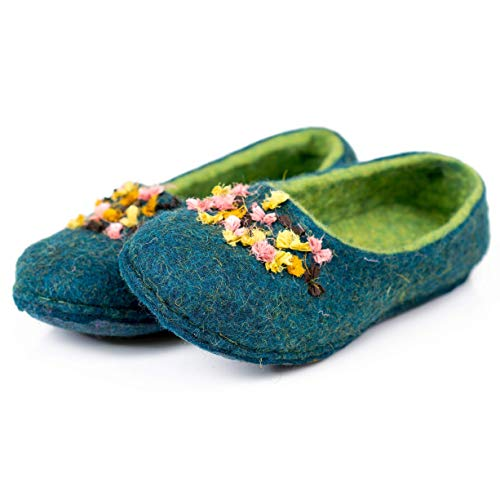 BureBure Women Felted Wool Slippers with Indian Silk Ribbons Handmade in Europe ()
