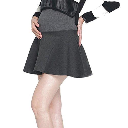 保安貞Fuyingda 女性の妊娠ハイウエストカジュアルミニスカートストレッチスカート、マタニティスカート (グレー,L)