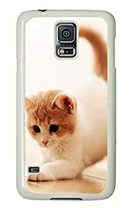 White Fashion Case for Samsung Galaxy S5,PC Case Cover for Samsung Galaxy S5 with Funny Cat