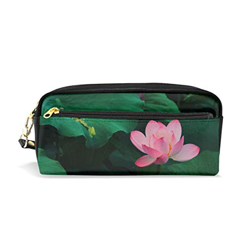 (Tiffany N WhitneyRG Lotus Bloom Leaves Pink Makeup Bag, Portable Ladies PU Travel Cosmetic Pouch Makeup Clutch Pouch Cosmetic and Toiletries Organizer Bag)