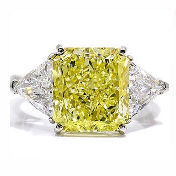 0.95Ct Yellow Canary Princess Diamond Trilogy Engagement Ring 14 ...