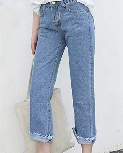 Suelto Bolsillos Cintura Vaqueros Alta Ancha Borla Mujer Media Para Jeans Stretch Huixin Chel A Blau1 Con Tobillo Pantalones Denim w4qPgg