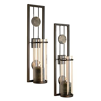 Danya B Contemporary Metal Wall Sconces with Antique Patina Medallions - Set of 2