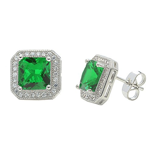 - Cate & Chloe Londyn 18k Gold Plated Princess Cut CZ Halo Stud Earrings, Sparkling Cluster Stud Earring Set w/Solitaire Princess Green Emerald Gemstone, Wedding Anniversary Jewelry