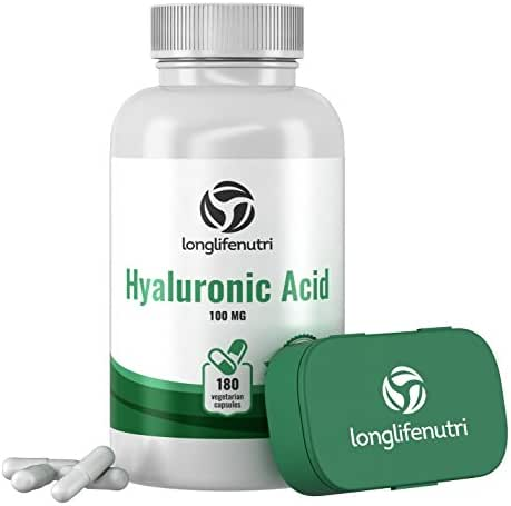 Hyaluronic Acid 100 mg 180 Vegetarian Capsules | Supports Knees & Joints | Skin Complex Tablets | Triple Strength HA Supplement For Face Elasticity | Acido Hialuronico Pills | Oral Powder Vitamin 1000