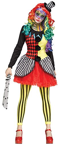 Fun World Women's Freakshow Clown Adult Jester Costume, Multi, Medium/Large -