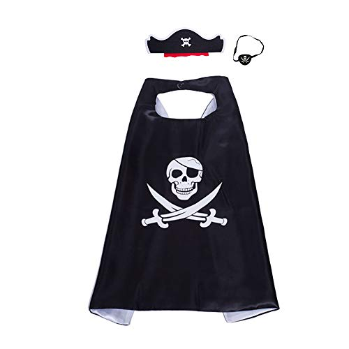 JLZK Halloween Pirate Costumes Dress Up Satin Capes Felt Eye Patch Pirate Hat Costumes for Kids Girls Boys -