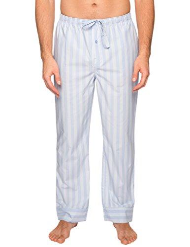 Men's Premium Cotton Lounge Pants - Stripes Chambray Blue - Medium - Stripe Pajama Pants Sleepwear