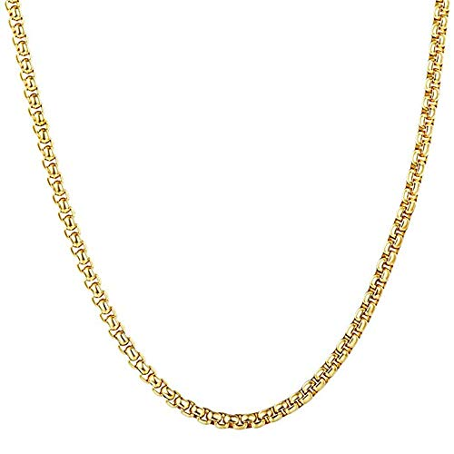 Q&S Jewels Mens Square Rolo Curb Chain Necklace, 18K Gold Plated Stainless Steel Round Box Chain Necklace for Boys, Classic Fashion Diamound Cut Shiny Jewelry 24 ()