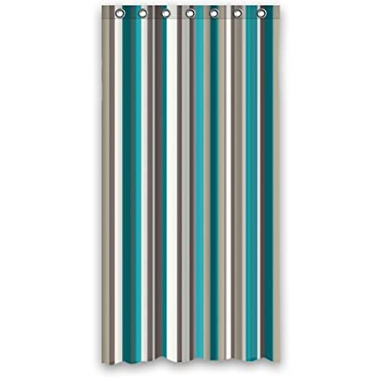 Best Teal Grey White Strips Shower Curtain Polyester Fabric Waterproof 36quot