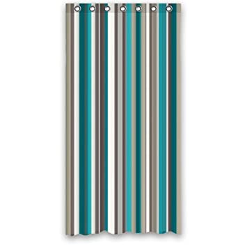 Amazon.com: Best Teal Grey White Strips Shower Curtain Polyester ...