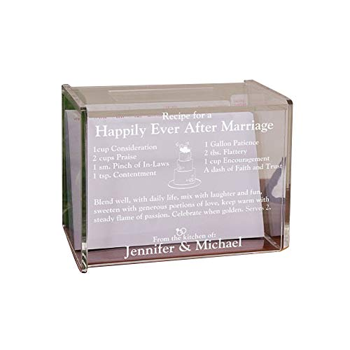 (Engraved Happily Ever After Acrylic Recipe Box, Holds 350 4
