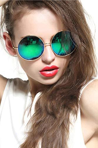 GEELOOK Oversized Round Circle Mirrored Hippie Hipster Sunglasses - Metal Frame (Dark Green, as ()