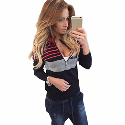 GBSELL Women Sexy Long Sleeve Spell Color Stripes Zipper Tops Shirt Blouse Coat (Black, XL)