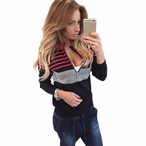 GBSELL Women Sexy Long Sleeve Spell Color Stripes Zipper Tops Shirt Blouse Coat (Black, XL)