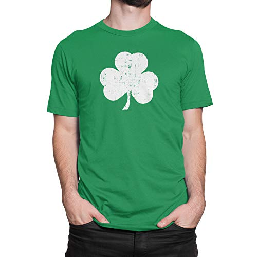 Retro Green Irish Distressed Shamrock T-shirt St Patricks Day Mens Ireland, Green, X-Large -
