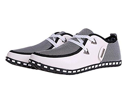 Lace Zapatos Lona Hombre Up Plano Cuero bajo Blanco Corte Conducción LIEBE721 Casual de Mocasines 8d0vnwq
