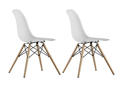 DHP Mid Century Modern Chair with Wood Legs, Set of Two, Lightweight, White by DHP (Image #6)