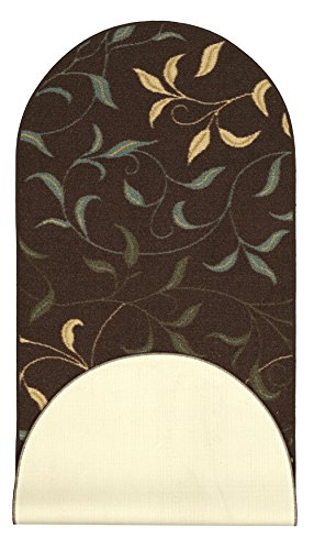 """Ottomanson Home Collection Modern Area Rug, 21"""" X 59"""" Oval, Chocolate Leaves"""